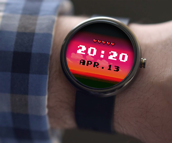 This is a 8 Bit themed watch face for Android wearables. It has 9 changing backgrounds which automatically switch based on the time of day. The hearts indicate the battery life of the watch. It comes with a companion app which allows users to change colors of the hours, minutes and date font.